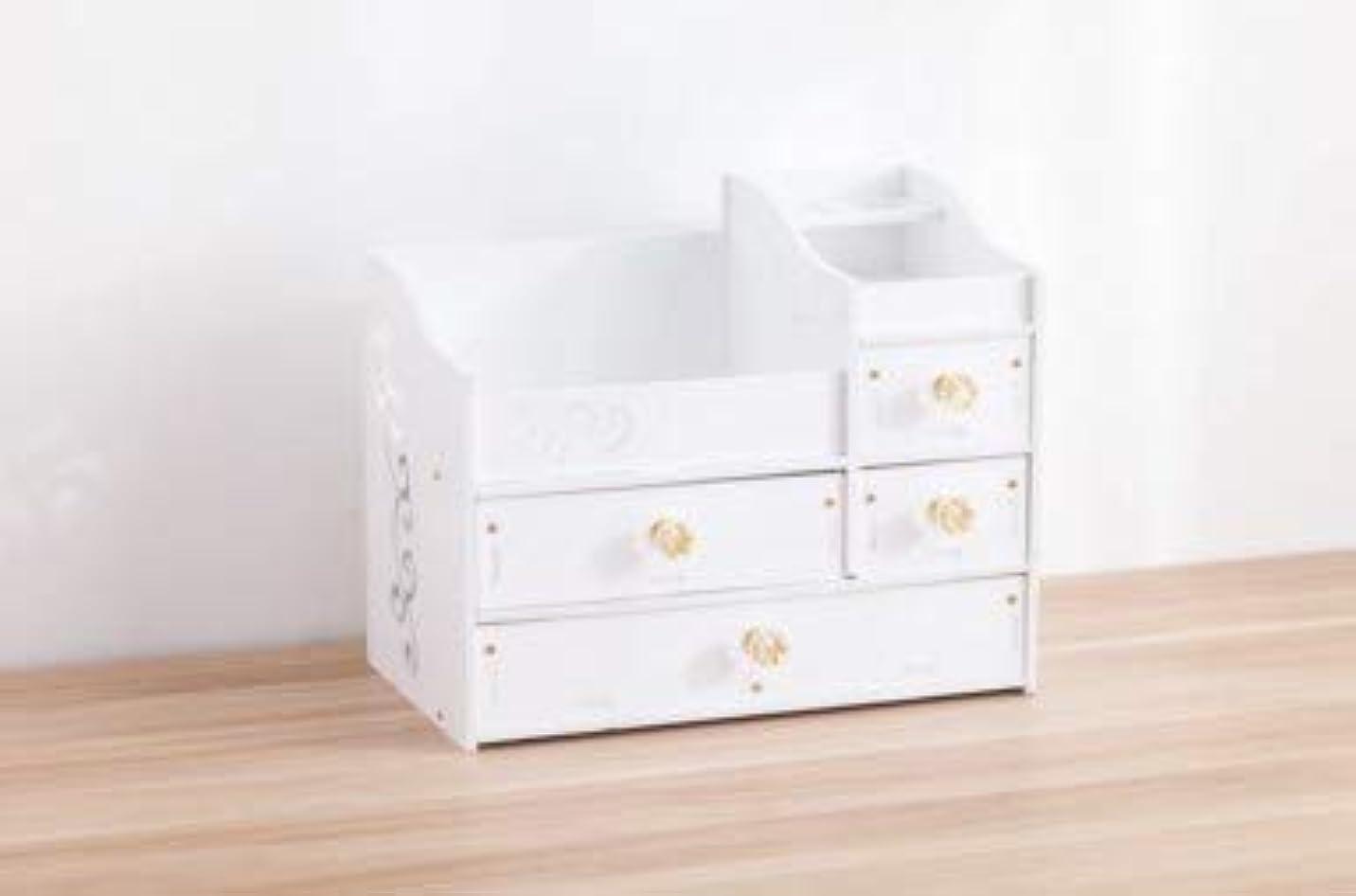 典型的な猫背サスティーンデスクトップスキンケア化粧台ジュエリーボックスクリスタルハンドル引き出し収納ボックス木製化粧品収納ボックス