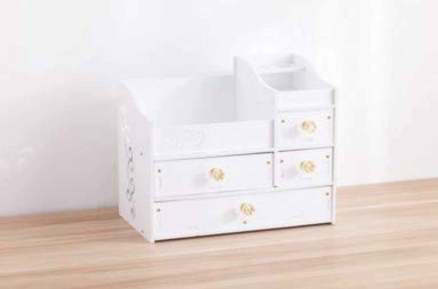 挽く喜ぶリスナーデスクトップスキンケア化粧台ジュエリーボックスクリスタルハンドル引き出し収納ボックス木製化粧品収納ボックス