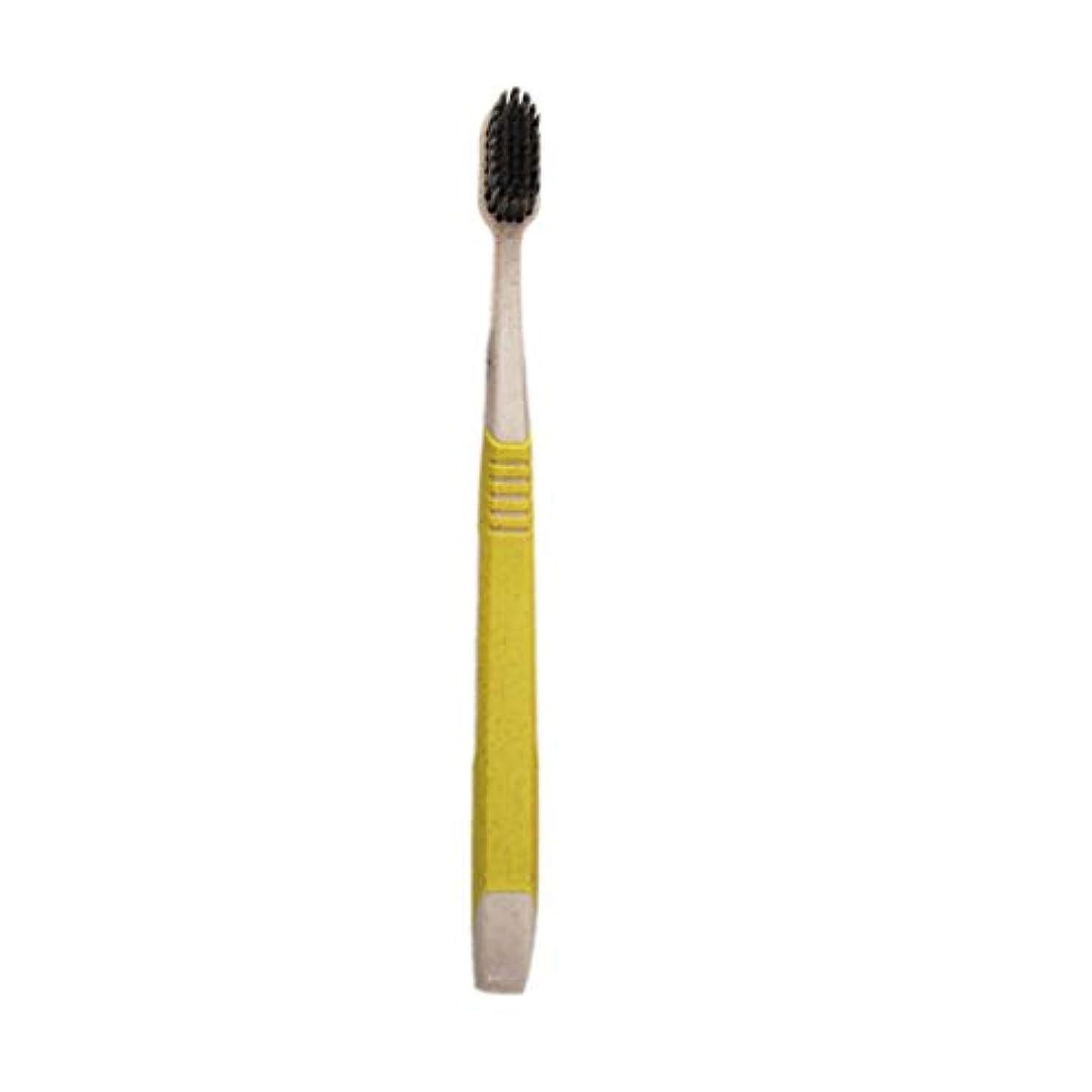 不注意活性化溶融K-666小麦わらの歯ブラシ歯のクリーニングブラシ竹炭毛ブラシ環境にやさしいブラシ歯のケア - 黄色