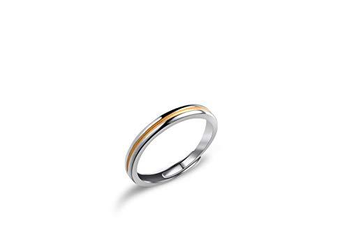 E-floral フリーサイズ 指輪 メンズリング ファッションリング シルバー925 メンズアクセサリー ラインスタイル イエロー