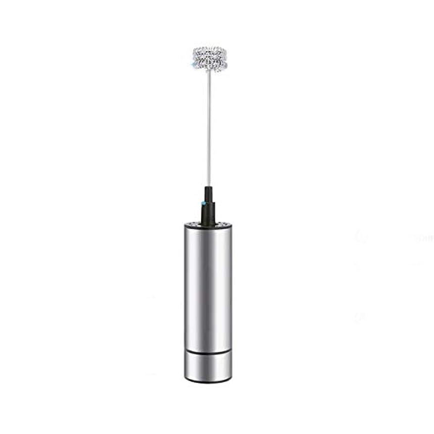 Saikogoods 電気ハンドヘルド ミルク泡立て器フォーマー コーヒーブレンダーミキサー トリプル春ウィスクヘッド&クリーンブラシヘッド キッチンツールを飲みます 銀