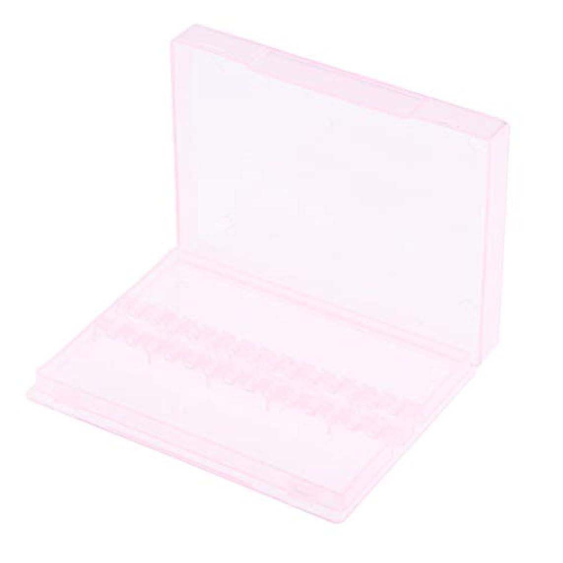 勃起荒らす交渉するネイルアート ドリルビットホルダー 空ボックス 収納ケース 2色選べ - ピンク