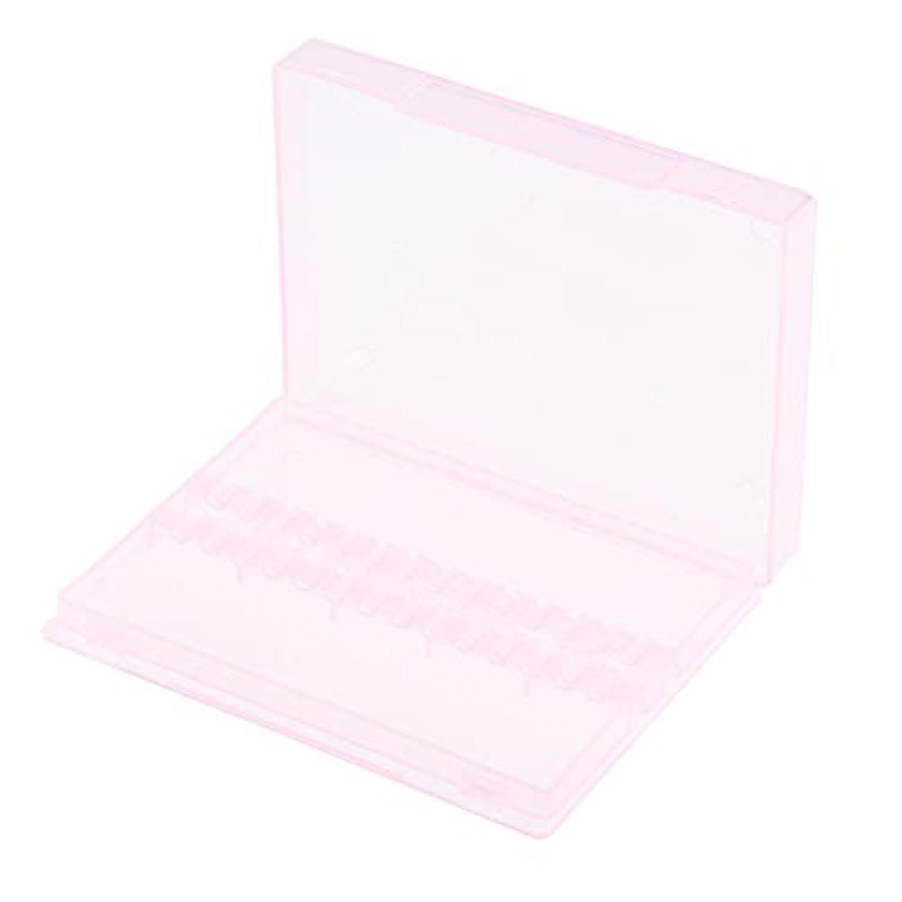 F Fityle ネイルアート ドリルビットホルダー 空ボックス 収納ケース 2色選べ - ピンク