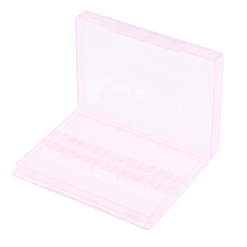 わずかに側示すネイルアート ドリルビットホルダー 空ボックス 収納ケース 2色選べ - ピンク
