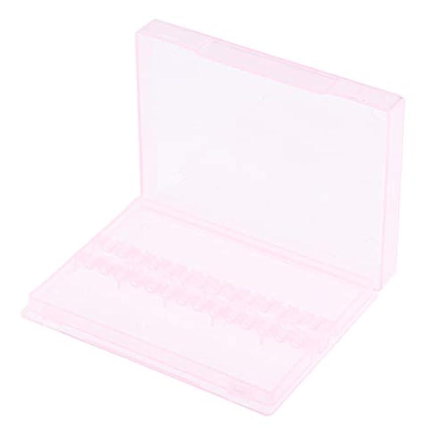 サイズ終了するシンボルネイルアート ドリルビットホルダー 空ボックス 収納ケース 2色選べ - ピンク