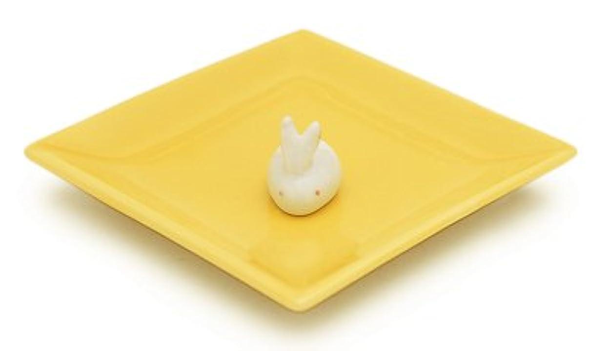要件クルーズ積極的に陶器香皿&ウサギ香立(イエロー)