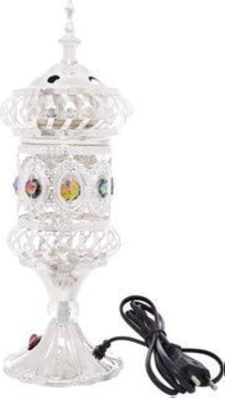 無礼に趣味祝うOMG-Deal Electric Bakhoor Burner Electric Incense Burner +Camphor- Oud Resin Frankincense Camphor for Diwali Gift Positive Energy-WF-075 Silver