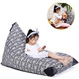 Stuffed Animal Storage Bean Bag Chair for Kids and Adults. Premium Canvas Stuffie Seat - Cover ONLY (Grey with White Arrows 200L/52 Gal) 141[並行輸入]