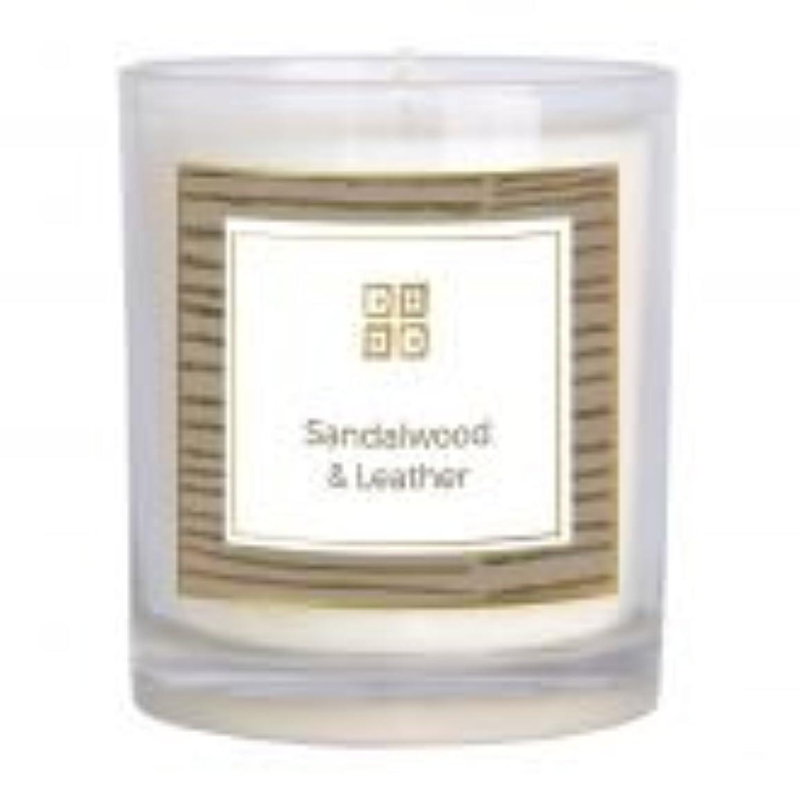 閃光修正する実行サンダルウッド&レザー香りのキャンドル 12 oz 503-08844