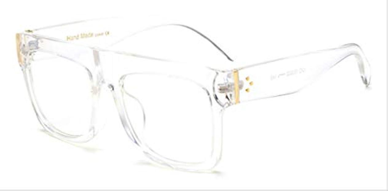 肉いわゆる優先権AMKLLEN  ファッションスーパースクエアメガネヴィンテージ女性サングラスブランドデザイナーフラットトップクリアレンズショッピングパーティー旅行屋外眼鏡  透明クリア