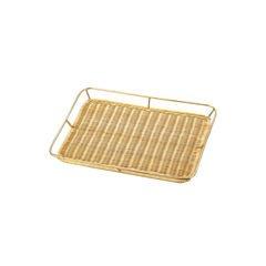 籐製メタリック ワクつきすのこ浅型 (ゴールドメッキ)PF-68G/62-6581-09
