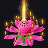 RaiFu 5SGIFT®3xミュージカルロータスフラワーキャンドルロマンチックパーティー誕生日の贈り物ライトを驚かせた(3PCS(ブルー+イエロー+ピンク))