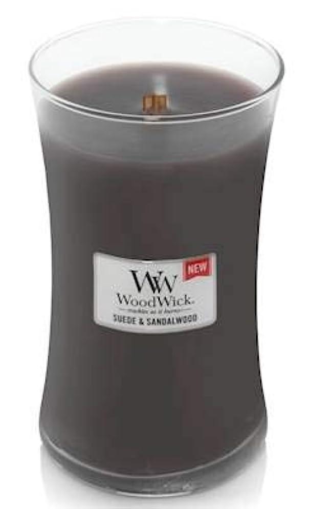 パラダイス通常参照WoodWick スエードサンダルウッド 22オンス 香り付きキャンドル