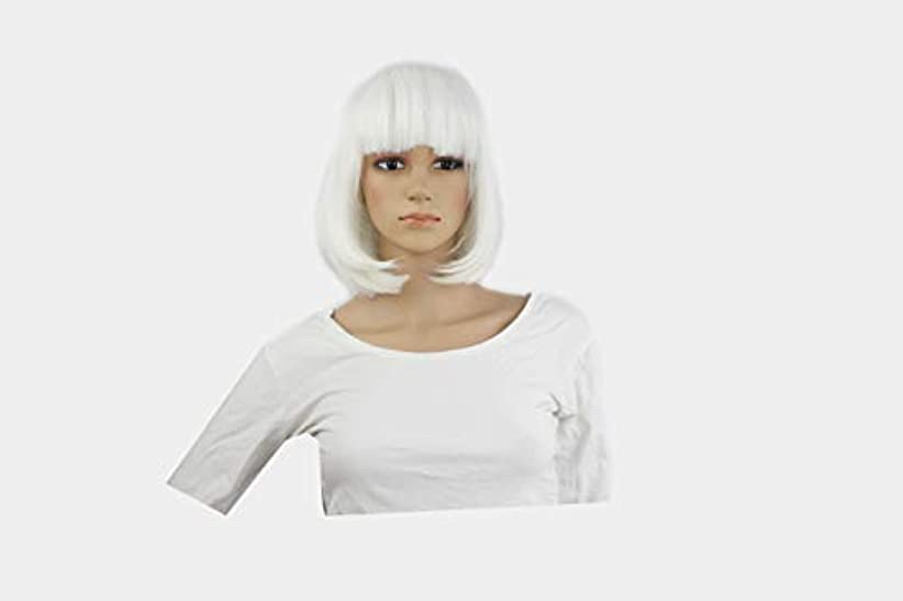 ボス青写真擬人化コスプレアニメウィッグ、カラーボブヘア、ぱっつんバング、ダンスパーティーでウィッグ、ヘアカバー (ホワイト)