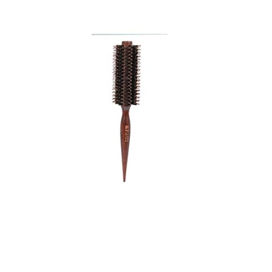 不名誉な不可能な独特の23センチメートル長い尖ったハンドルラウンドブラシ、ツイルとストレートコーム - ヘアドライヤーと男性と女性のためのナチュラル木製ハンドルヘアブラシとカール - 乾燥スタイル、巻き毛と乾いた髪 モデリングツール (サイズ...