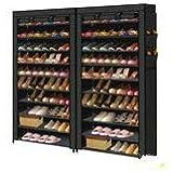 2X Levede Shoe Rack Storage Cabinet Cube DIY Organiser 10 Tier Organizer Black