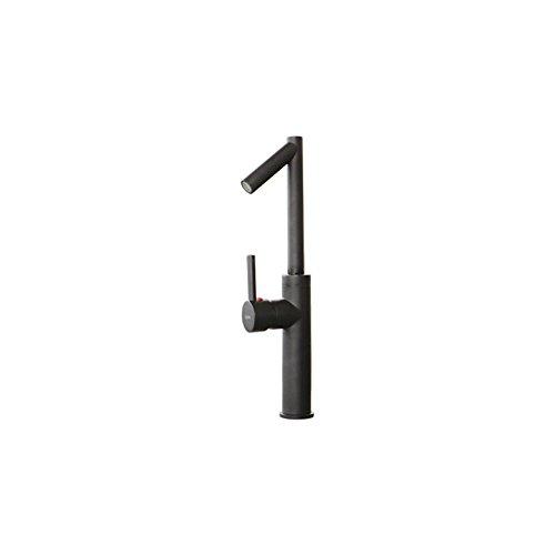 蛇口 混合水栓 洗面水栓 水栓金具 ブラック(黒) 奥行11×吐水口高32.5cm INK-0303135G
