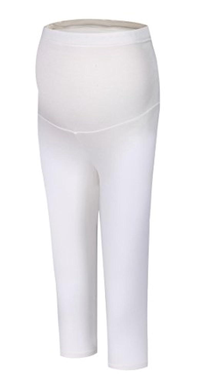 Foucome パンツ マタニティ レギンス ストレッチ ウェア ボトムス 妊婦 ゆったり ワイドパンツ スーツパンツ 下着 ウエストゴム付き 7分丈 産前産後 パンツ ホワイト XL