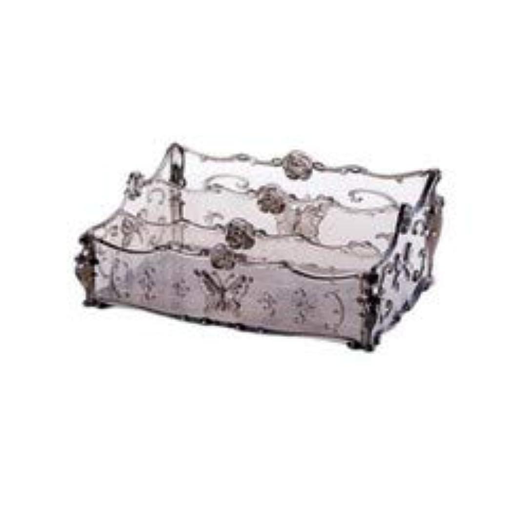 生産性満たす長方形フラワー彫刻デスクトップ化粧品収納ボックス化粧台透明ラック家庭用プラスチックマルチカラースキンケア製品仕上げボックス (Color : Transparent gray)