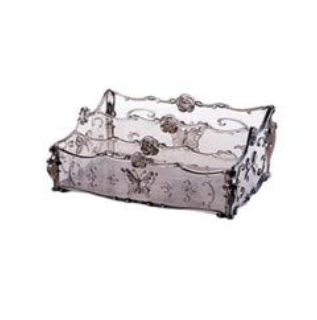 立法論争的くぼみフラワー彫刻デスクトップ化粧品収納ボックス化粧台透明ラック家庭用プラスチックマルチカラースキンケア製品仕上げボックス (Color : Transparent gray)