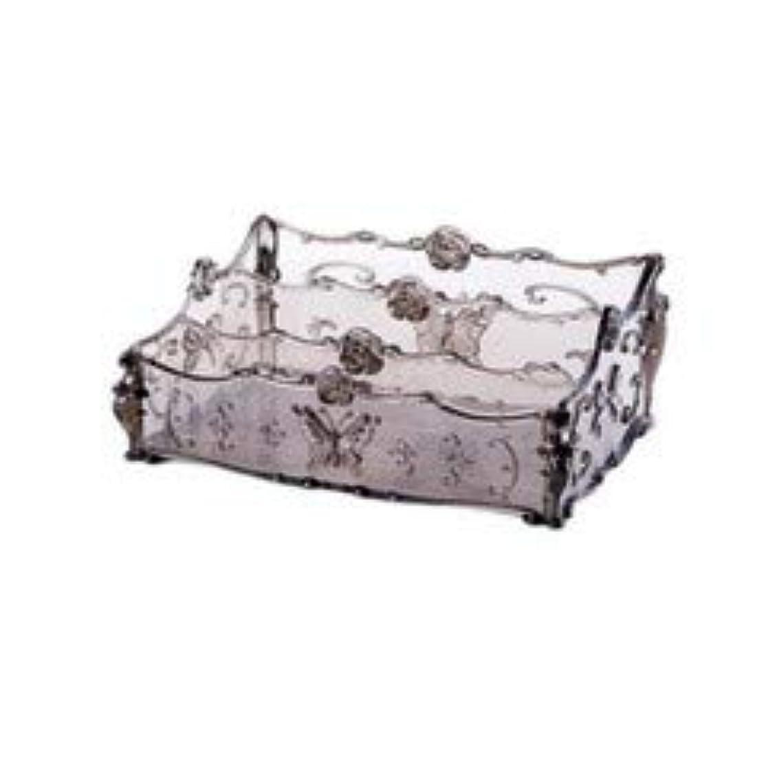 と組むに勝る一月フラワー彫刻デスクトップ化粧品収納ボックス化粧台透明ラック家庭用プラスチックマルチカラースキンケア製品仕上げボックス (Color : Transparent gray)