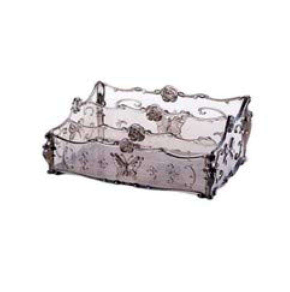 銛リスト証明するフラワー彫刻デスクトップ化粧品収納ボックス化粧台透明ラック家庭用プラスチックマルチカラースキンケア製品仕上げボックス (Color : Transparent gray)