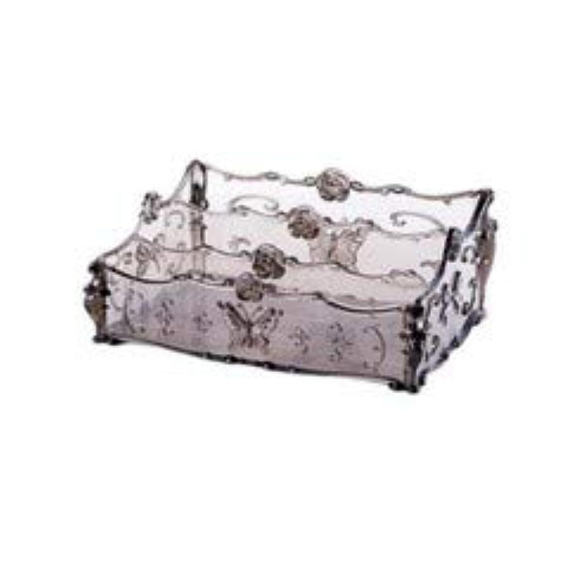 個人書き込み運動するフラワー彫刻デスクトップ化粧品収納ボックス化粧台透明ラック家庭用プラスチックマルチカラースキンケア製品仕上げボックス (Color : Transparent gray)