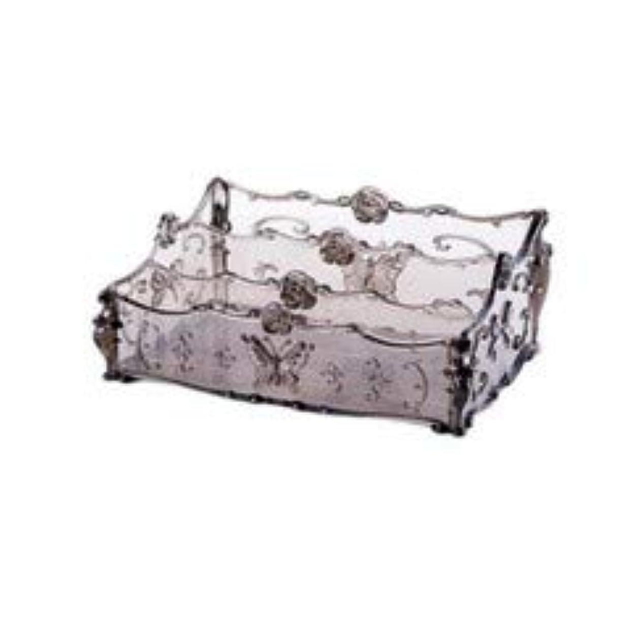 法律配るなめるフラワー彫刻デスクトップ化粧品収納ボックス化粧台透明ラック家庭用プラスチックマルチカラースキンケア製品仕上げボックス (Color : Transparent gray)