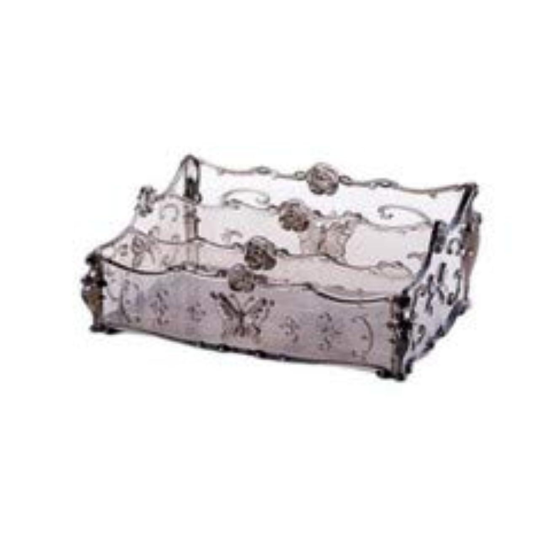 近似責任者生産的フラワー彫刻デスクトップ化粧品収納ボックス化粧台透明ラック家庭用プラスチックマルチカラースキンケア製品仕上げボックス (Color : Transparent gray)