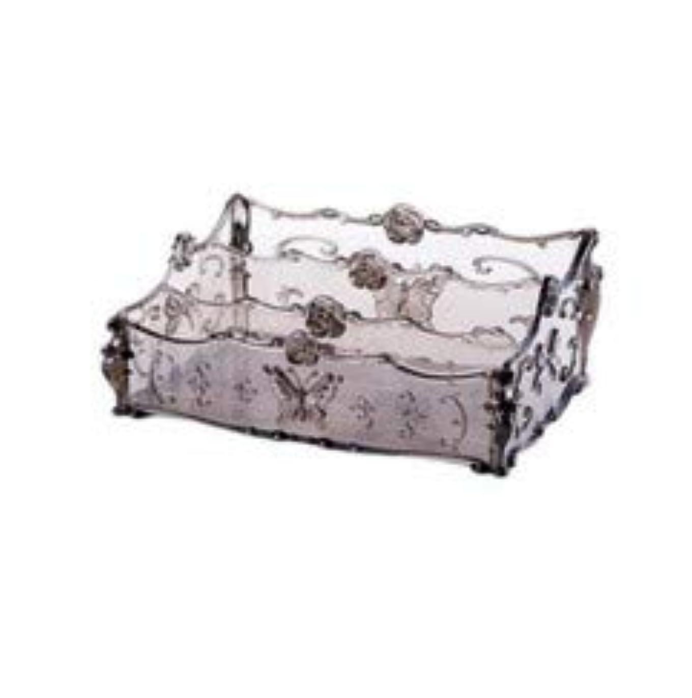 ワーカー人に関する限りしなやかなフラワー彫刻デスクトップ化粧品収納ボックス化粧台透明ラック家庭用プラスチックマルチカラースキンケア製品仕上げボックス (Color : Transparent gray)