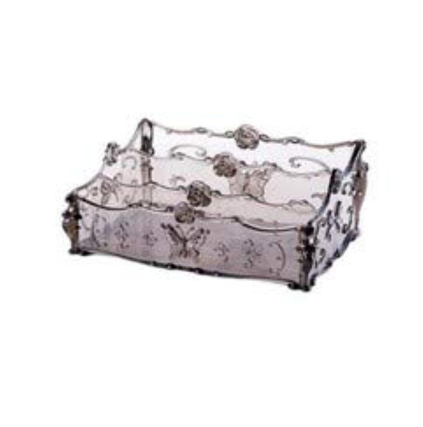 近代化する正しくでフラワー彫刻デスクトップ化粧品収納ボックス化粧台透明ラック家庭用プラスチックマルチカラースキンケア製品仕上げボックス (Color : Transparent gray)