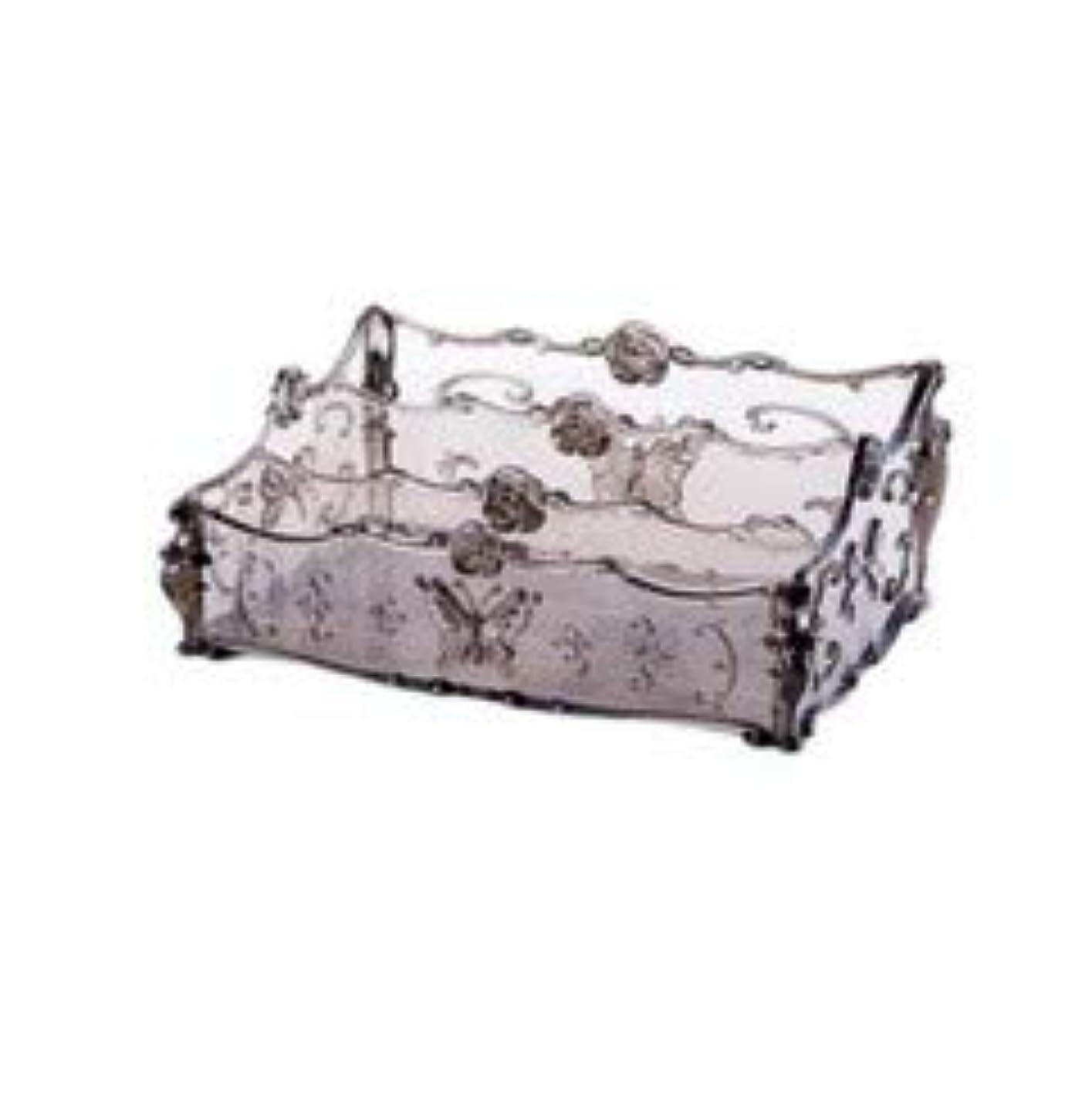 信者パッケージ見物人フラワー彫刻デスクトップ化粧品収納ボックス化粧台透明ラック家庭用プラスチックマルチカラースキンケア製品仕上げボックス (Color : Transparent gray)