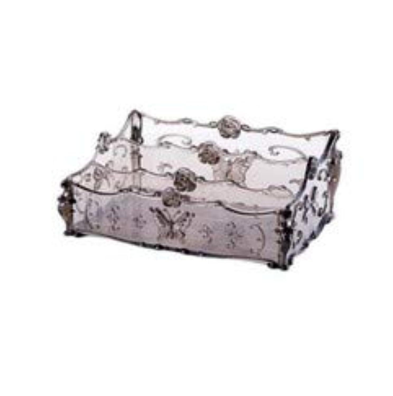 フラワー彫刻デスクトップ化粧品収納ボックス化粧台透明ラック家庭用プラスチックマルチカラースキンケア製品仕上げボックス (Color : Transparent gray)