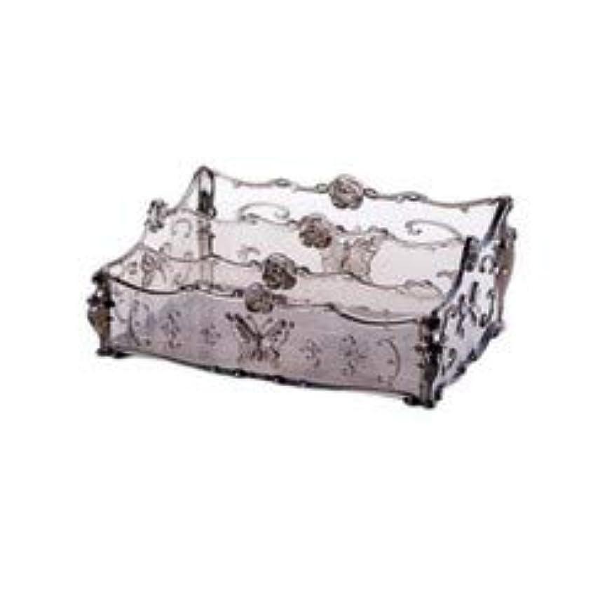 解決下に向けますささやきフラワー彫刻デスクトップ化粧品収納ボックス化粧台透明ラック家庭用プラスチックマルチカラースキンケア製品仕上げボックス (Color : Transparent gray)