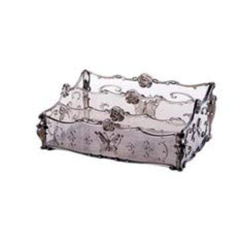 推測支配するほうきフラワー彫刻デスクトップ化粧品収納ボックス化粧台透明ラック家庭用プラスチックマルチカラースキンケア製品仕上げボックス (Color : Transparent gray)