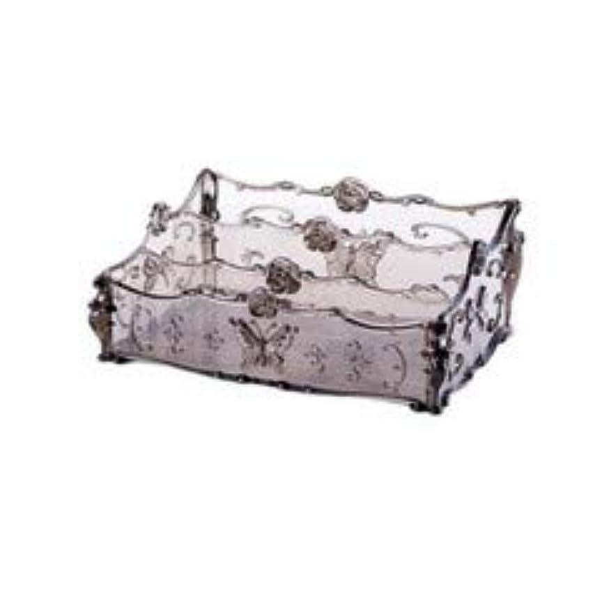 縮約死すべき補足フラワー彫刻デスクトップ化粧品収納ボックス化粧台透明ラック家庭用プラスチックマルチカラースキンケア製品仕上げボックス (Color : Transparent gray)