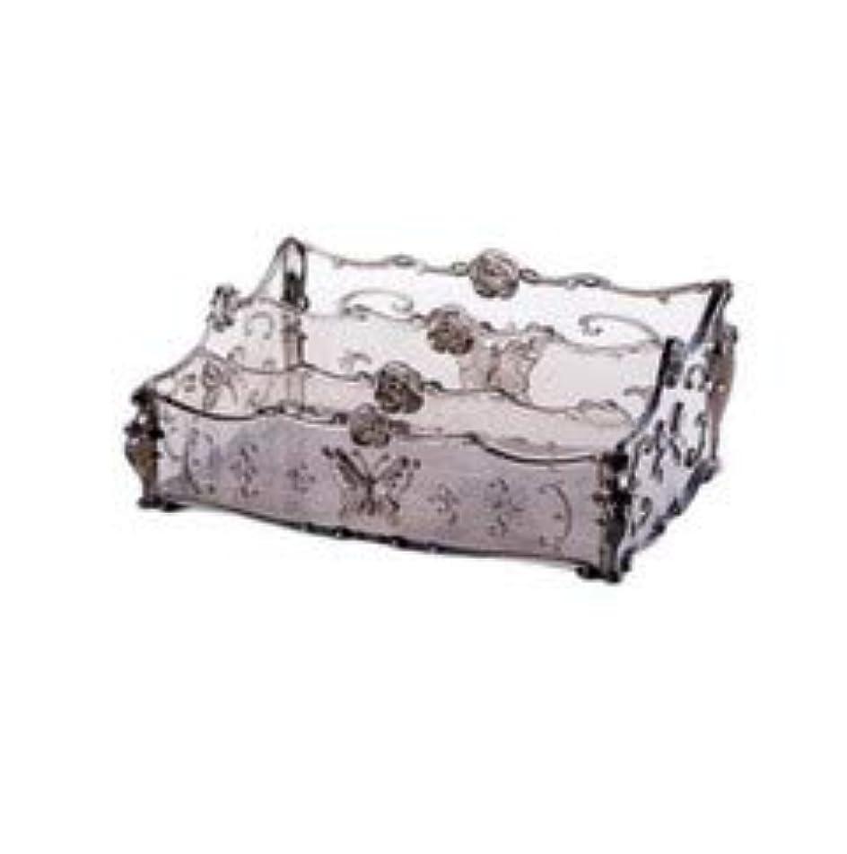 起きてヶ月目ドットフラワー彫刻デスクトップ化粧品収納ボックス化粧台透明ラック家庭用プラスチックマルチカラースキンケア製品仕上げボックス (Color : Transparent gray)