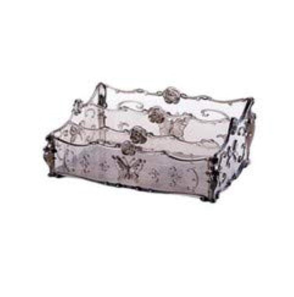 閲覧するおばさん農学フラワー彫刻デスクトップ化粧品収納ボックス化粧台透明ラック家庭用プラスチックマルチカラースキンケア製品仕上げボックス (Color : Transparent gray)