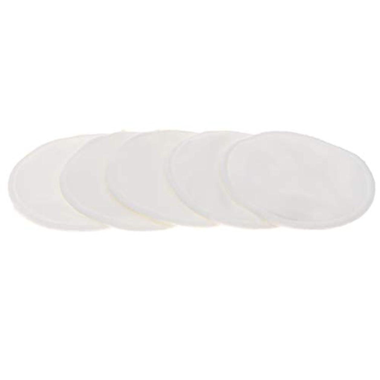 パーセント石炭悲しい胸パッド クレンジングシート メイク落とし用 竹繊維 円形 12cm 吸収性 再使用可能 5個 全5色 - 白