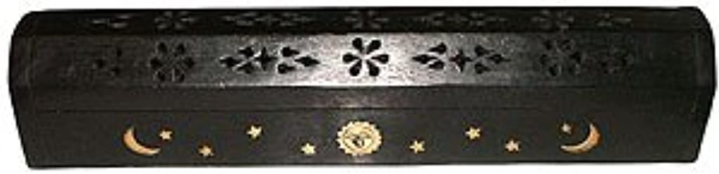 不機嫌感覚心臓Wooden Coffin Incense Burner - Black Sun and Moon 12 - Brass Inlays - Storage Compartment by Accessories - Coffin...