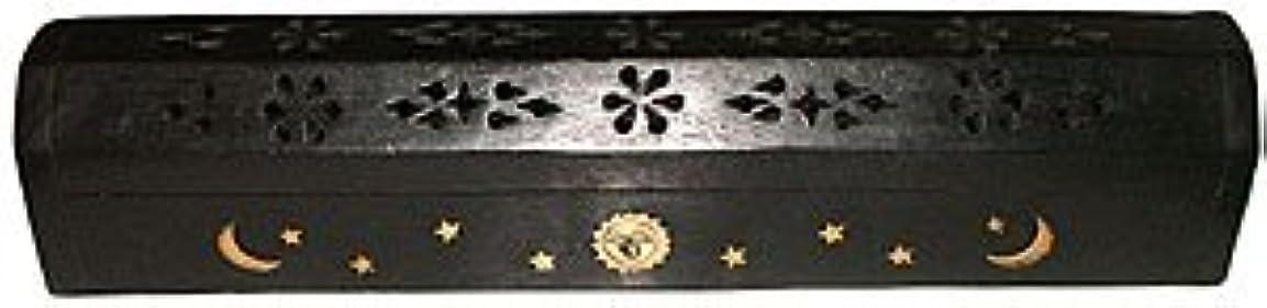 小道具広告する意志Wooden Coffin Incense Burner - Black Sun and Moon 12 - Brass Inlays - Storage Compartment by Accessories - Coffin...