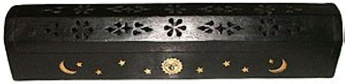 クルーパイントスポットWooden Coffin Incense Burner - Black Sun and Moon 12 - Brass Inlays - Storage Compartment by Accessories - Coffin Burners