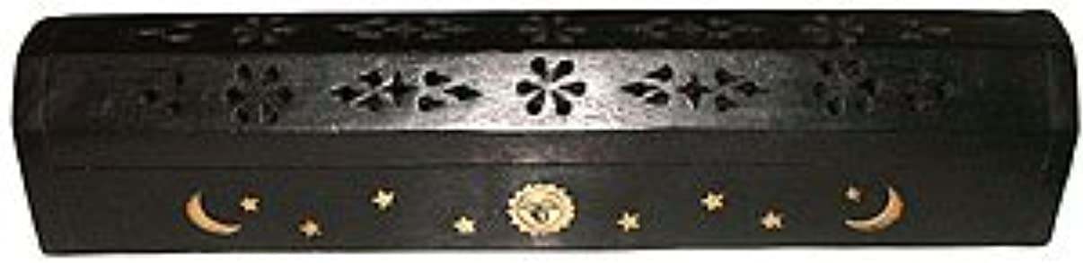 哲学博士成功散らすWooden Coffin Incense Burner - Black Sun and Moon 12 - Brass Inlays - Storage Compartment by Accessories - Coffin...