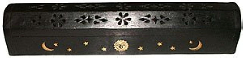 ミュージカル悪党弱点Wooden Coffin Incense Burner - Black Sun and Moon 12 - Brass Inlays - Storage Compartment by Accessories - Coffin...