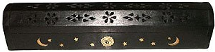 アサートイブ学校Wooden Coffin Incense Burner - Black Sun and Moon 12 - Brass Inlays - Storage Compartment by Accessories - Coffin...