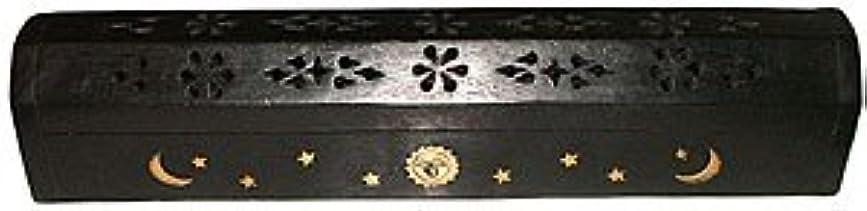イタリアの石油カールWooden Coffin Incense Burner - Black Sun and Moon 12 - Brass Inlays - Storage Compartment by Accessories - Coffin...