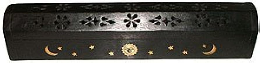 ダイアクリティカル繕う協力するWooden Coffin Incense Burner - Black Sun and Moon 12 - Brass Inlays - Storage Compartment by Accessories - Coffin...