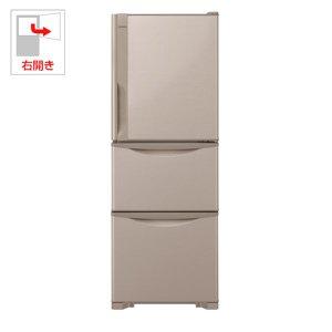 日立 冷蔵庫 265L 3ドア 右開き R-27JV T 幅54.0cm 奥行65.5cm まんなか野菜タイプ ライトブラウン