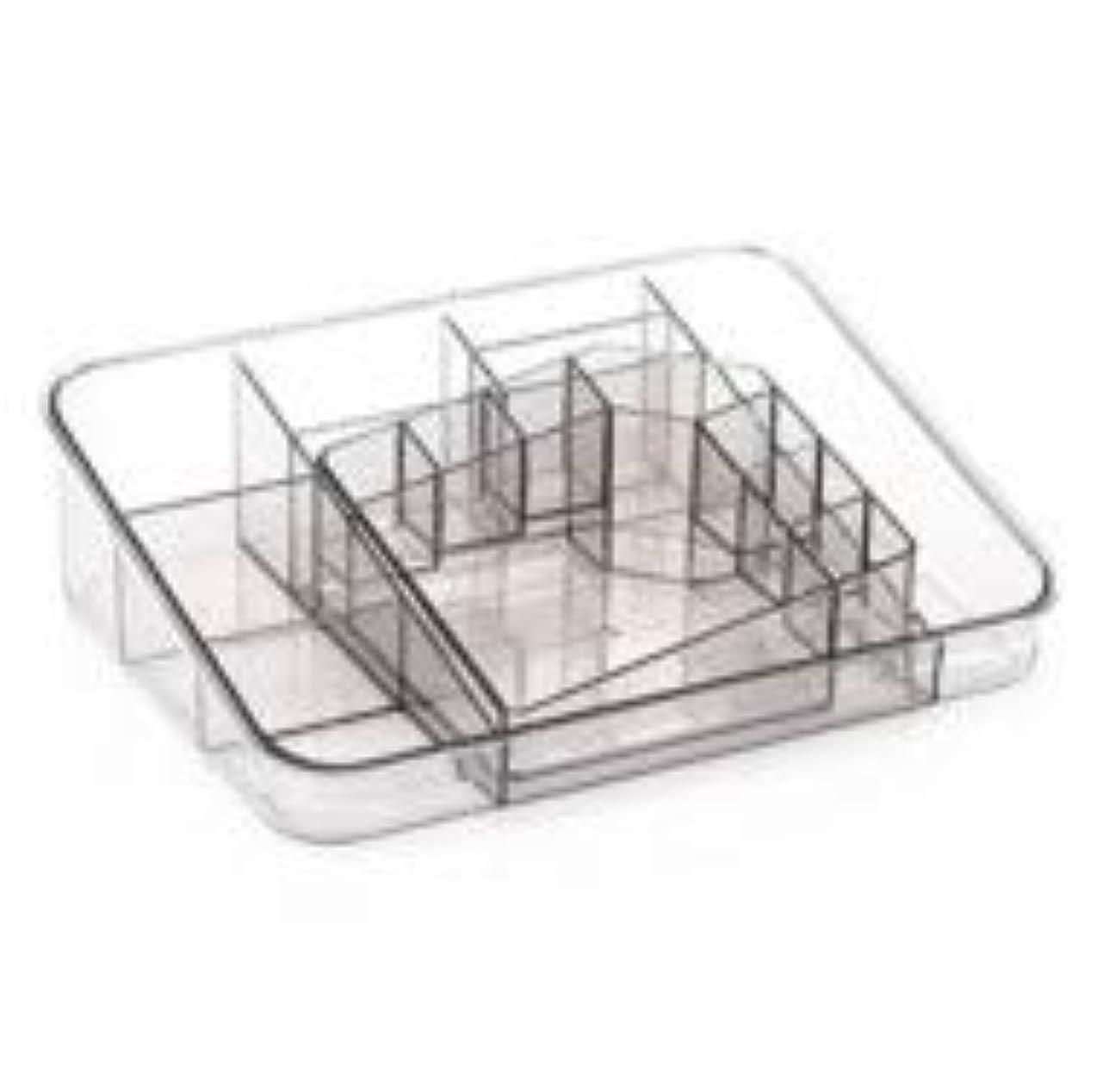 降下旅行者あいまいさ透明アクリル化粧品収納ボックスサイズの組み合わせツーピース多分割化粧品デスクトップ仕上げボックス (Color : グレー)