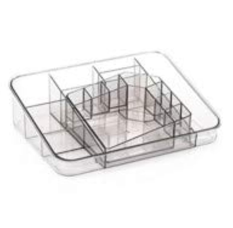 壮大宝石協同透明アクリル化粧品収納ボックスサイズの組み合わせツーピース多分割化粧品デスクトップ仕上げボックス (Color : グレー)